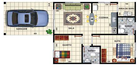 planos de casas pequenas 2 dormitorios