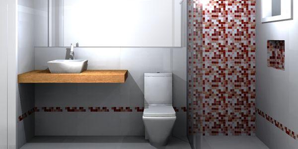 Decoração e Projetos Decoração de Banheiro com Pastilhas Cromadas -> Decoracao De Banheiro Com Pastilhas Bege