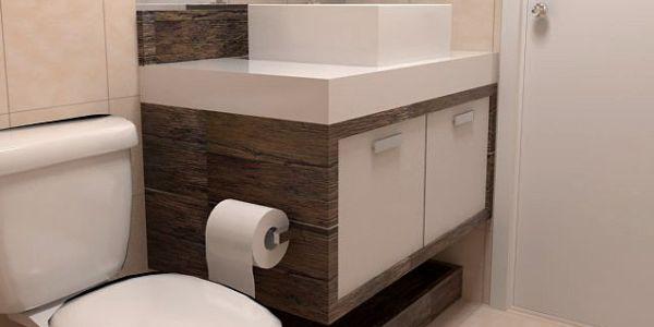 Decoração e Projetos – pequenos -> Banheiro Pequeno Creme