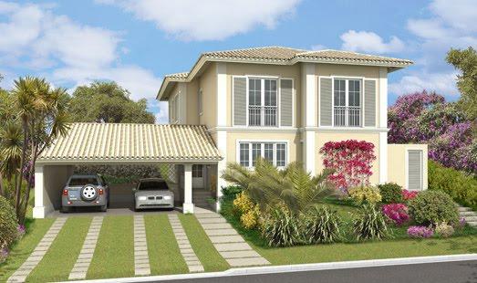 Decora o e projetos fachadas de casas com varanda e garagem for Banco para entrada de casa