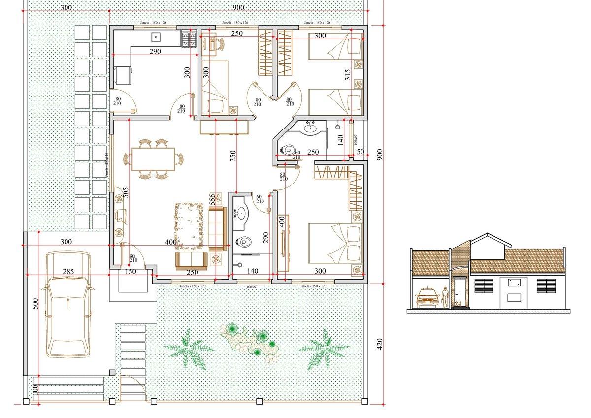 Decoração e Projetos – Plantas de sobrados com 3 quartos grátis #1B9438 1200 849