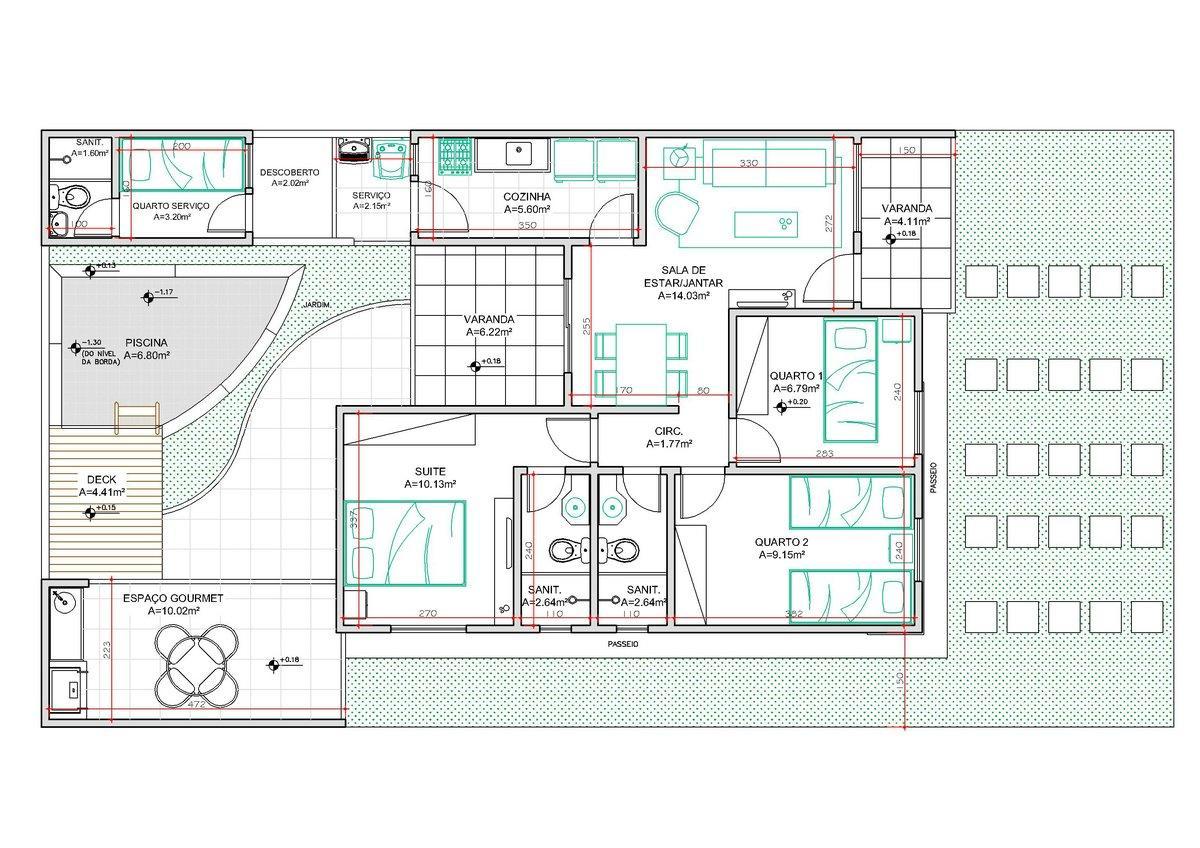 Decoração e Projetos – Plantas de casas com 3 quartos e 2  #448778 1200 848