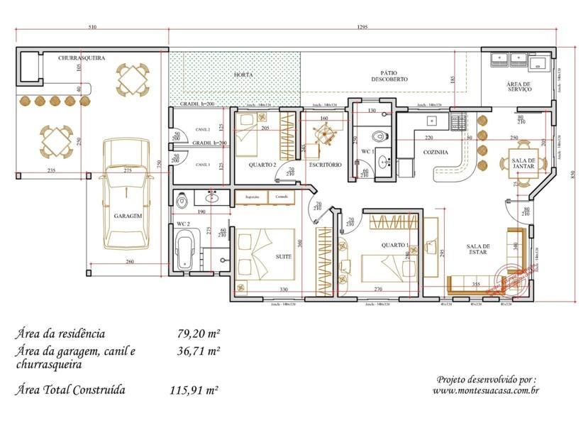 Decoração e Projetos – Plantas de casas com 3 quartos e 2