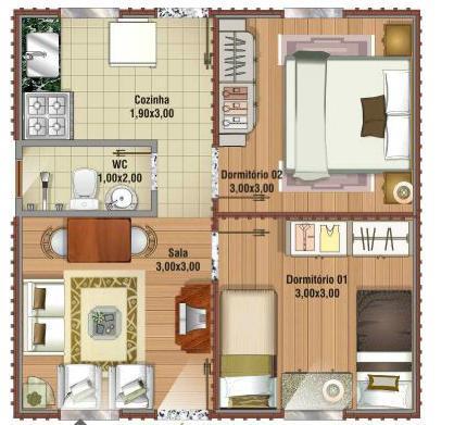 Decora o e projetos plantas de casas de at 70 m2 - Plantas para casa ...