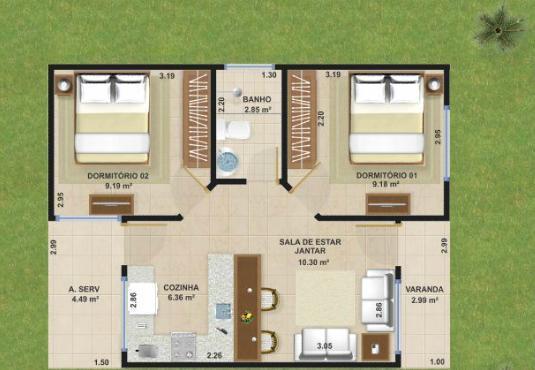 planos de casas pequenas 70m2