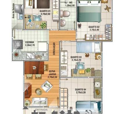 Decora o e projetos plantas de casas de at 70 m2 for Casa de 2 plantas de 70 metros cuadrados