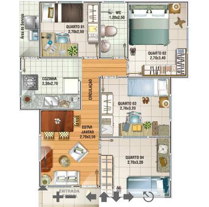 Plantas de casas de at 70 m2 for Casas modernas de 70m2