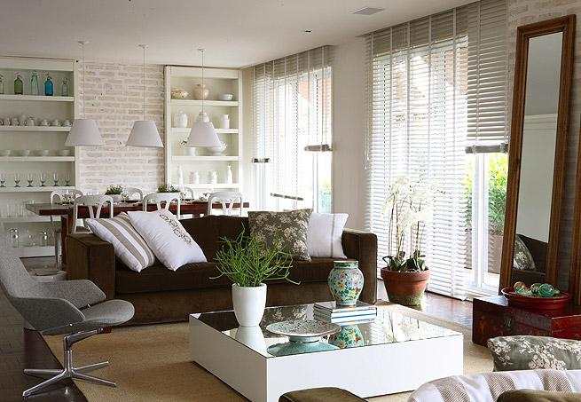 decoracao branca sala : decoracao branca sala:Decoração e Projetos – Decoração de salas com sofá marrom