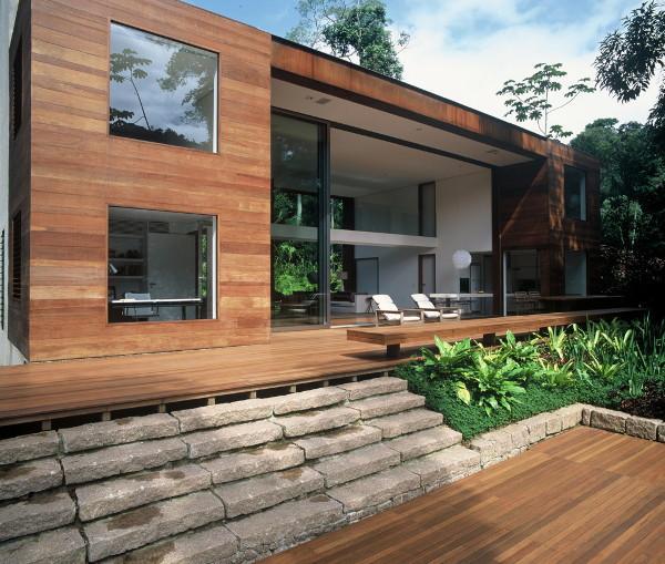Decora o e projetos fachadas de casas com madeira Plantas baratas de exterior