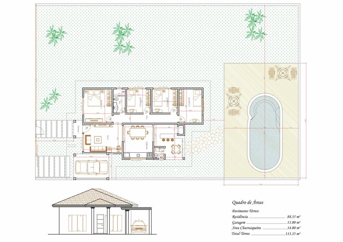 Decoração e Projetos – Plantas de casas com 4 quartos e varanda #91653A 1200 848