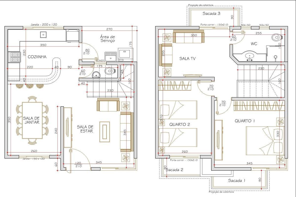 Decoração e Projetos – Plantas de casas em terrenos estreitos #7D6F4E 1200 800