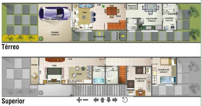 Decora o e projetos plantas de casas populares geminadas for Piscina 6 x 12