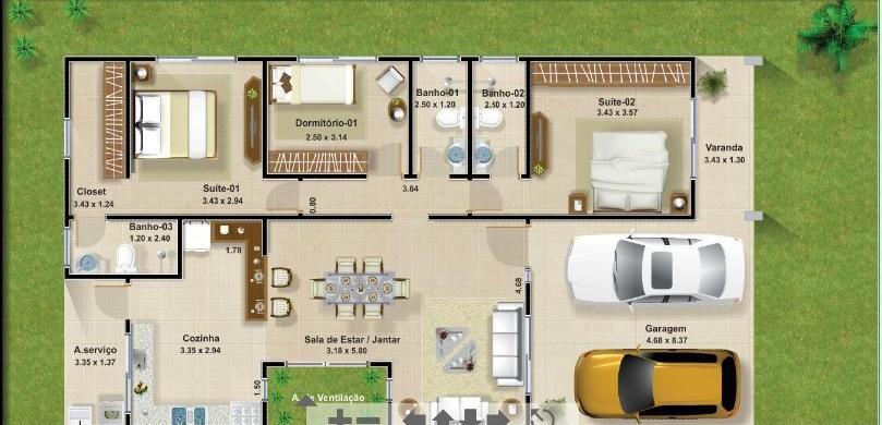 Decora o e projetos projetos de casas com garagem para 2 for Piscinas desmontables rectangulares baratas