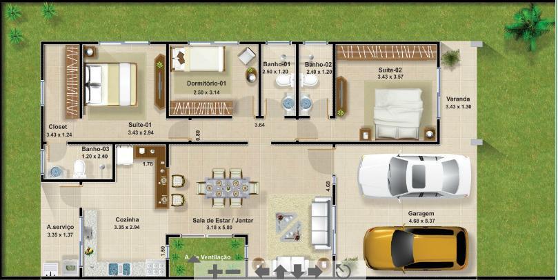 Projetos de casas com garagem para 2 carros gratis for Planos de casas de tres recamaras