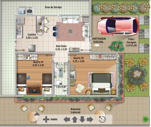 fotos jardim quadrado:Decoração e Projetos – Projetos de casas de até 100m2