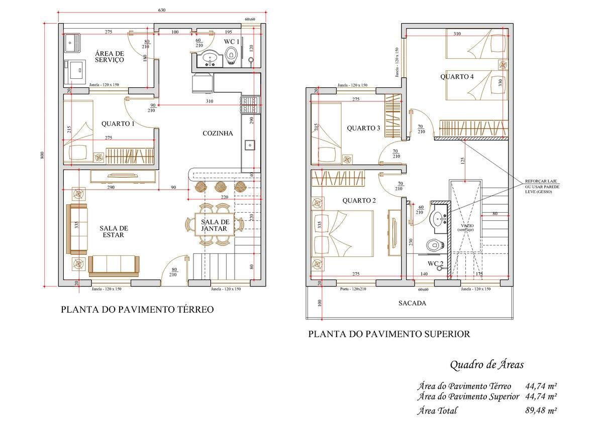 Decoração e Projetos – Projetos de sobrados com 4 quartos grátis #8E683D 1200 849
