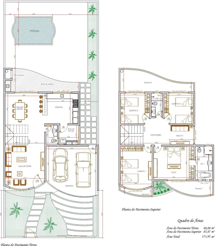 Decoração e Projetos – Projetos de sobrados com 4 quartos grátis #884E12 1200 1338