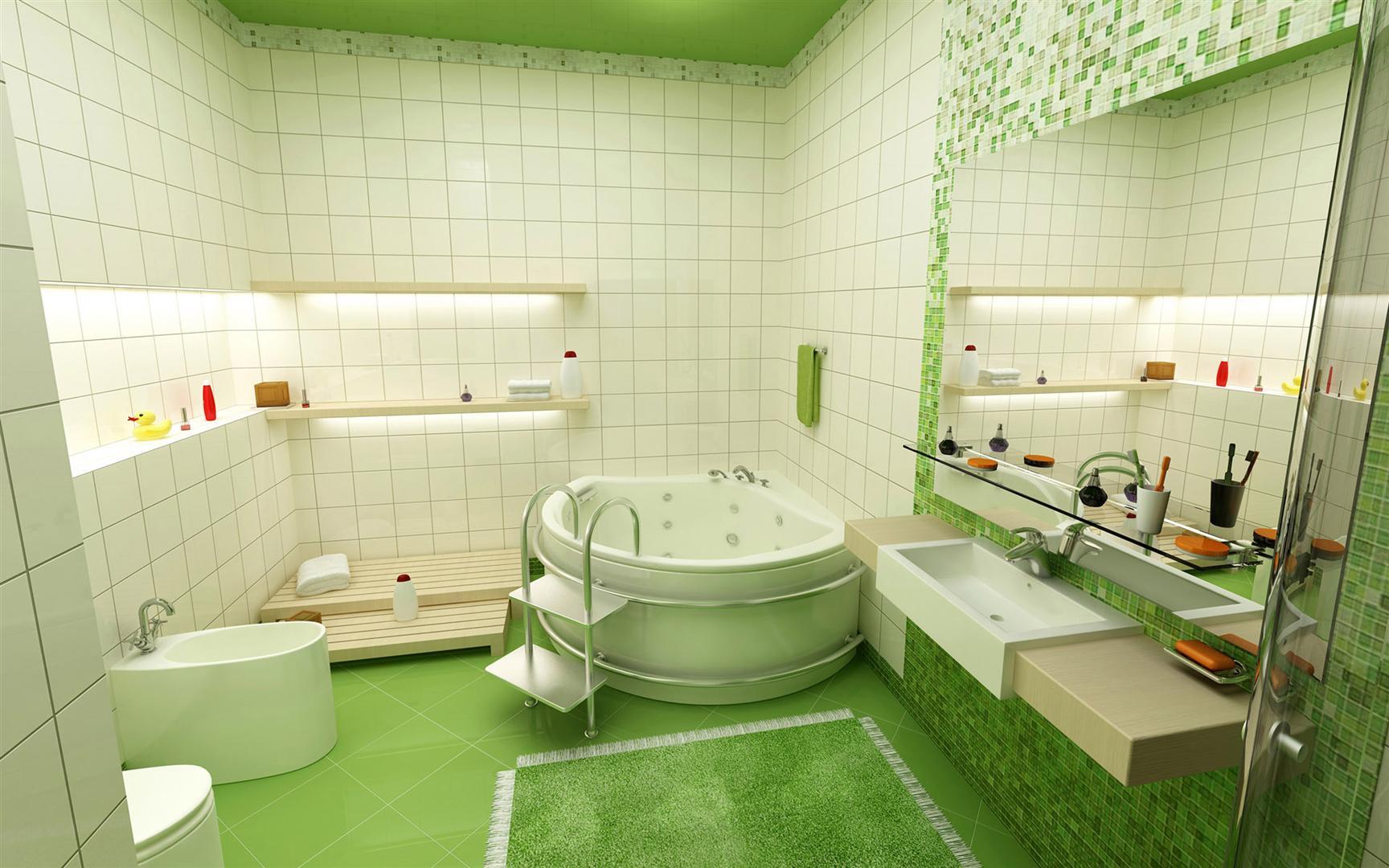 Download Banheiros decorados com pastilhas verdes – Fotos #71441A 1728 1080
