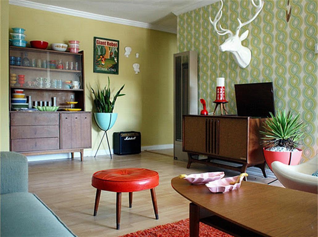 Decoração de sala de estar retrô