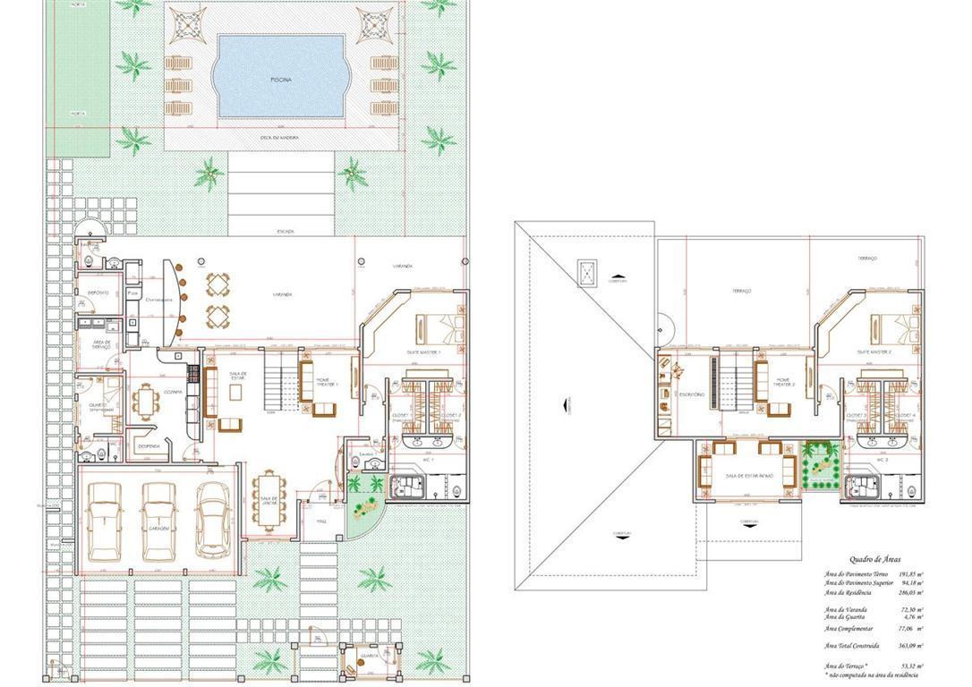 Decoração e Projetos – Plantas de casas com suíte e closet #378F3F 1086 768