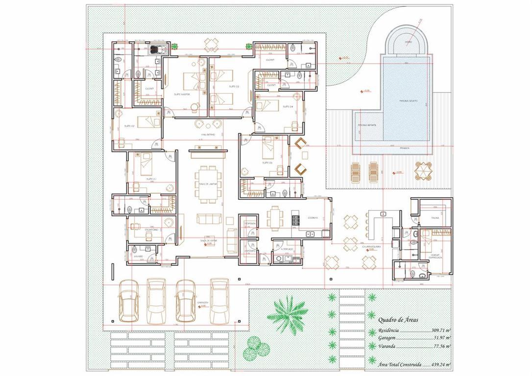 Decoração e Projetos – Plantas de casas com suíte e closet #3E8D52 1086 768
