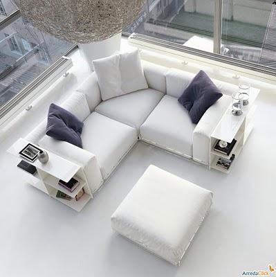 Decora o e projetos salas decoradas com sof s de canto - Sofas pequenos medidas ...
