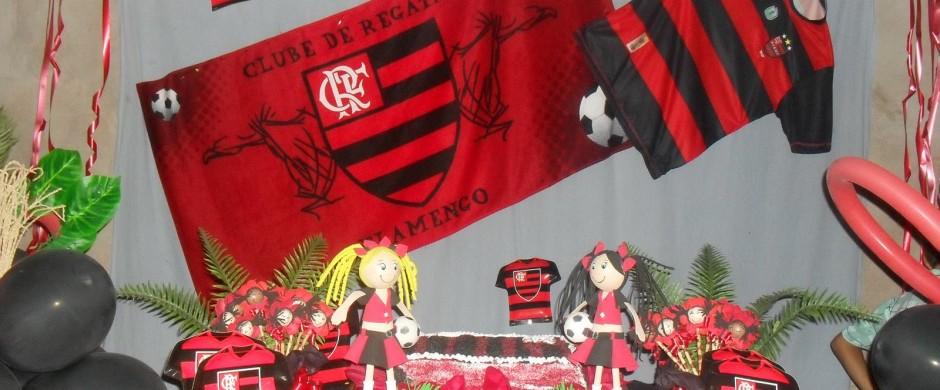 decoração do flamengo com bandeira de futebol