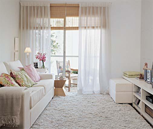 decorar sala branca:Cortinas Para Salas Pequenas
