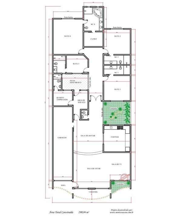 Decoração e Projetos – Plantas de casas com área de ventilação