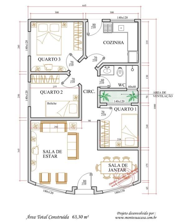 Decora o e projetos plantas de casas com rea de ventila o for Plantas para casa