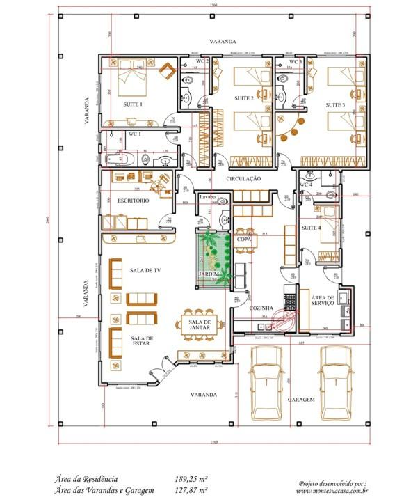 Decoração E Projetos – Plantas De Casas Com área De Ventilação~ Decoracao Cozinha Tipo Corredor