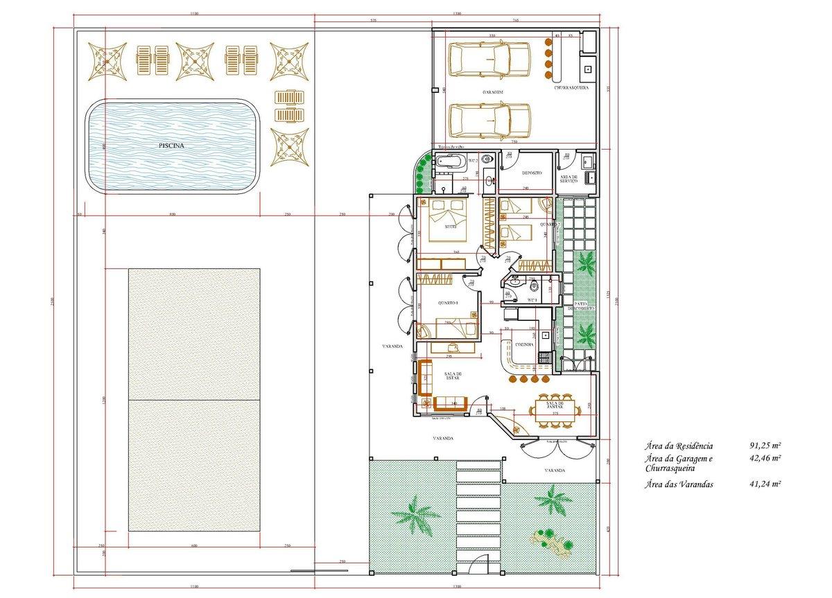 Decoração e Projetos – Plantas de casas com área de ventilação #23923D 1200 863