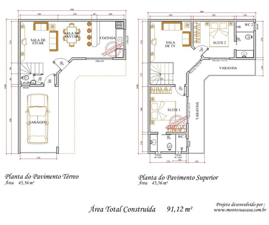 Decora o e projetos plantas de casas em formato de l for Plantas de casas tipo 3 modernas