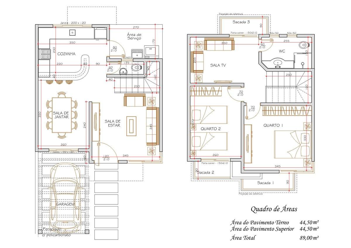 Decoração e Projetos – Projetos de casas modernas e pequenas  #8A6841 1200 849