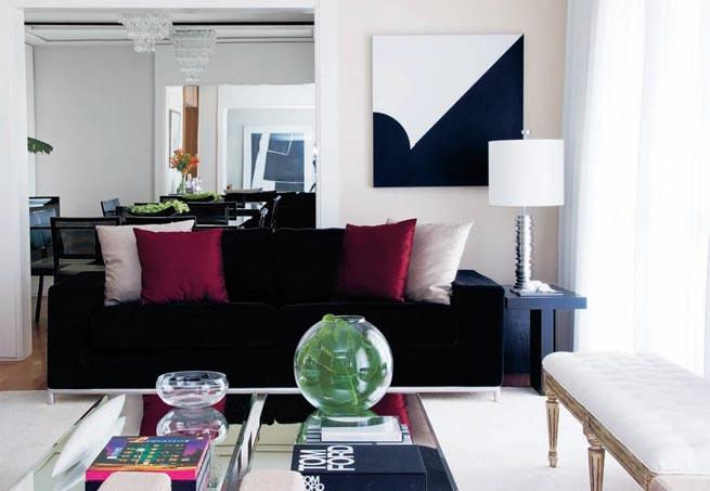 Sala De Tv Sofa Preto ~ Decoração e Projetos – Salas com sofás pretos na decoração