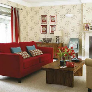 Decora o e projetos decora o de sala com sof vermelho for Red wallpaper designs for living room
