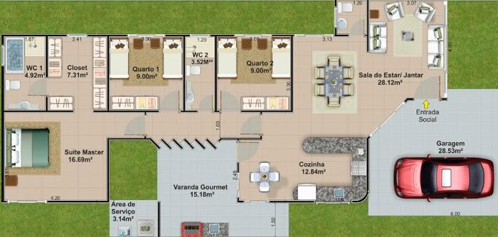 casas com espaço gourmet integrado