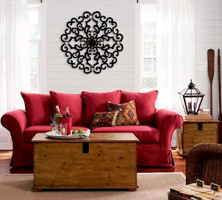 Decora o de sala com sof vermelho fotos - Charming image of red and brown interior decorating design ideas ...