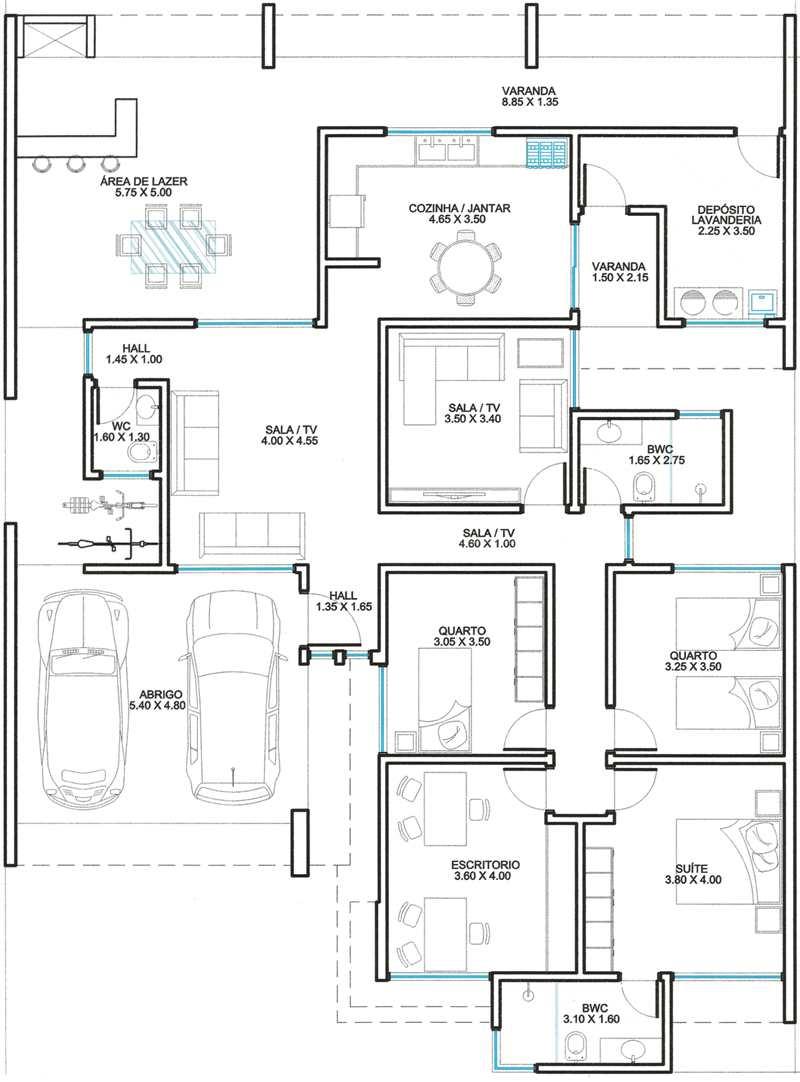 plantas de casas com 3 quartos e escritorio
