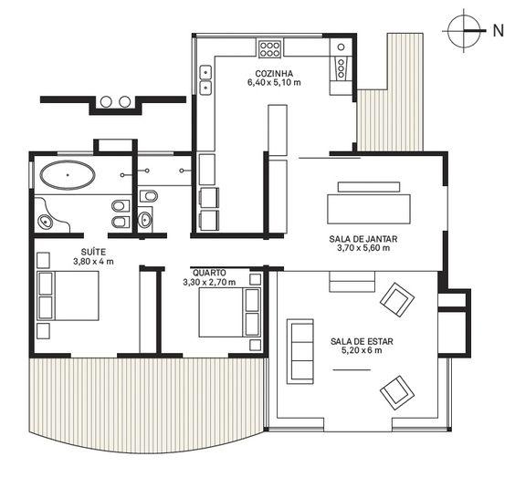 plantas de casas terreas com 1 quarto e 1 suite