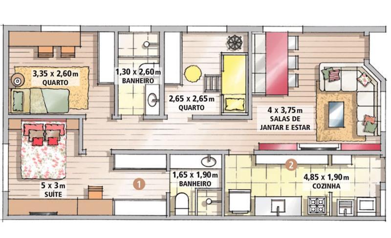 projetos de casas gratis com 2 quartos e 1 suite