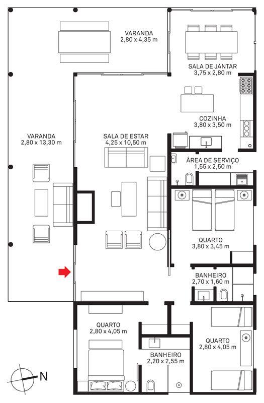 plantas de casas simples com 3 quartos e varanda