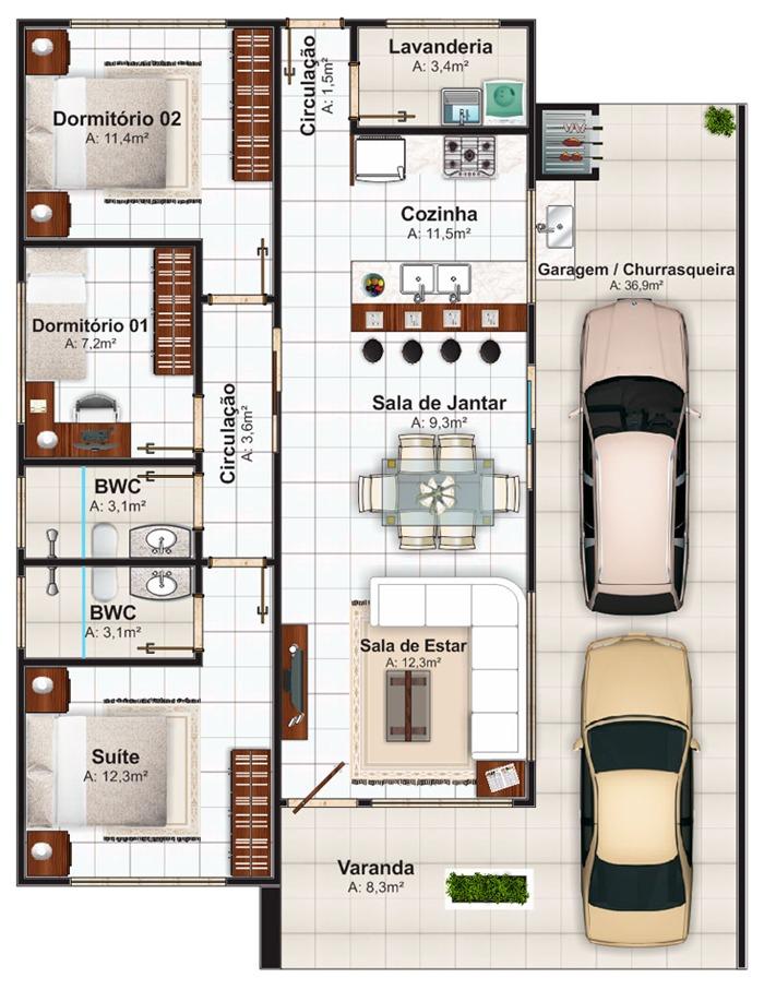 plantas de casas com garagem para dois carros