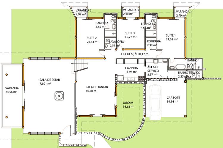 plantas de casas terreas com 3 suites