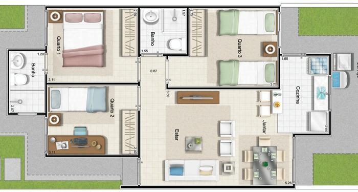 plantas de casas 3 quartos 2 banheiros