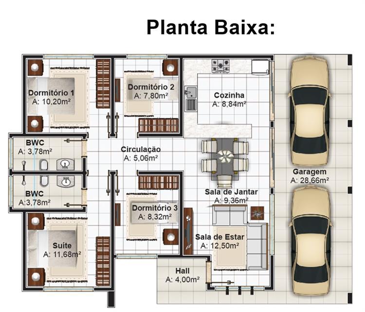 planta baixa de casas com sala de jantar
