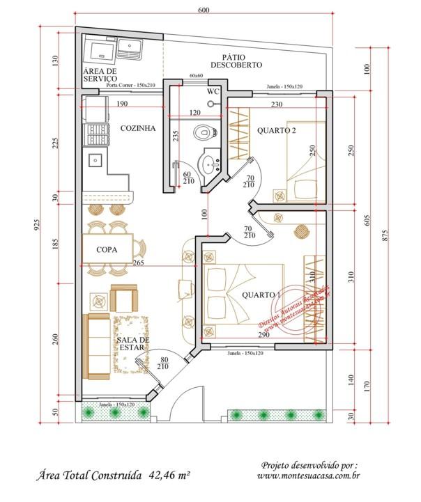 Plantas de casas com medidas gr tis Planos de casas 6x20 gratis