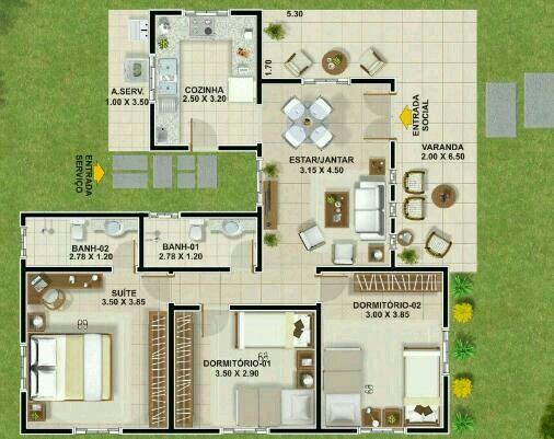 plantas de casas com 3 quartos sendo 1 suite gratis