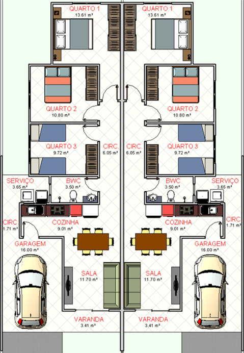 plantas de casas geminadas com garagem