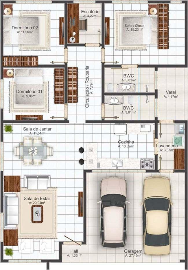 planta de casas com garagem para 2 carros